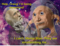 "<p>[<a href=""https://www.reddit.com/r/surrealmemes/comments/8kzsvq/pleaz_dont_let_them_einsteinize_me/"">Src</a>]</p>: Help, Orang! I'm being  darwinized!  I can't Meme Man. They are  einsteinizing me.. <p>[<a href=""https://www.reddit.com/r/surrealmemes/comments/8kzsvq/pleaz_dont_let_them_einsteinize_me/"">Src</a>]</p>"