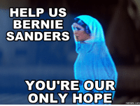 Sanders: HELP US  BERNIE  SANDERS  YOU'RE OUR  ONLY HOPE  memes.com