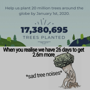 We might not reach it! :(: Help us plant 20 million trees around the  globe by January 1st, 2020.  .1/.  17,380,695  TREES PL ANTED  When you realise we have 26 days to get  2.6m more  *sad tree noises* We might not reach it! :(