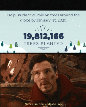 Keep planting!: Help us plant 20 million trees around the  globe by January 1st, 2020.  19,812,166  TREES PLANTED  We' re in the endgame now. Keep planting!