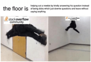 Made this some time ago when this format was still relevant: helping out a newbie by kindly answering his question instead  e  floor is  ofbeing dicks which just downte questions and leave without  saying anything  stackoverflow  stackoverflow  communRy  community Made this some time ago when this format was still relevant