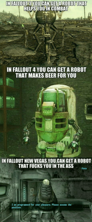 Mojave is weird: HELPS YOUINCOMBAT  IN FALLOUT 4 YOU CAN GET A ROBOT  THAT MAKES BEER FOR YOU  IN FALLOUT NEW VEGAS YOU CAN GET A ROBOT  THAT FUCKS YOU IN THE ASS  Fisto  I an progranned for your pleasure. Please  position.  he Mojave is weird