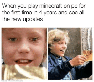 It's amazing: hen you play minecraft on pc for  the first time in 4 years and see all  the new updates It's amazing