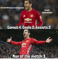 Mkhitaryan last 4 games for Manchester United 🔥💪🏽: Henrikh Mkhitaryan last 4 games:  Credit:  @Globalfutbal  DEVROLET  Games:4, Goals:2 Assists: 2  Man of the match:3 Mkhitaryan last 4 games for Manchester United 🔥💪🏽