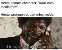 """Dont Cum: Hentai female character: """"Don't cum  inside mel!""""  Hentai protagonist, cumming inside  shit negro. thatis alliyou had to say"""