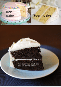 Cake: Her  cake  Your cake  The cake she told you  not to worry about