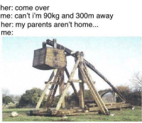 "<p>Any value in trebuchet memes? via /r/MemeEconomy <a href=""http://ift.tt/2lLoy3Q"">http://ift.tt/2lLoy3Q</a></p>: her: come over  me: can't i'm 90kg and 300m away  her: my parents aren't home..  me: <p>Any value in trebuchet memes? via /r/MemeEconomy <a href=""http://ift.tt/2lLoy3Q"">http://ift.tt/2lLoy3Q</a></p>"