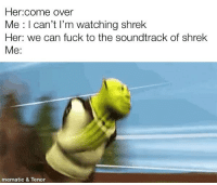 Come Over, Shrek, and Fuck: Her:come over  Me : I can't I'm watching shrek  Her: we can fuck to the soundtrack of shrek  Me:  mematic & Tenor
