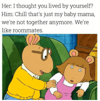 Chill, Dank Memes, and Thought: Her: I thought you lived by yourself?  Him: Chill that's just my baby mama,  we're not together anymore. We're  like roommates. Chill, ma. 😂😂😂