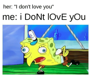 """I Dont Love You: her: """"l don't love you""""  me: i DoNt lOvE yOu"""