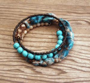 Tumblr, Blog, and Etsy: HEraMa heramade:  Memory wire bracelet, felt bracelet, textile bracelet, boho jewelry, artisan jewelry, teal brown, mineral stone, gypsy, tribal, gift for her   https://www.etsy.com/listing/261064374