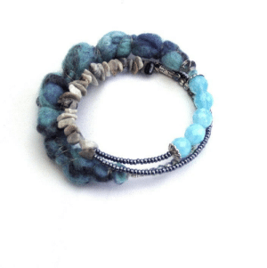 Tumblr, Blog, and Blue: heramade:  Memory wire bracelet, felt bracelet, textile bracelet, boho jewelry, artisan jewelry, teal, blue grey, mineral stone, gypsy, gift for her https://www.etsy.com/listing/261067866
