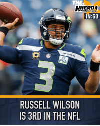 "Memes, Nfl, and Russell Wilson: HERD*  IN:60  OLIN COWHERD  SEAHAWKS  PGA  RUSSELL WILSON  IS 3RD IN THE NFL Russell Wilson ""out-Mahome'd"" Patrick Mahomes Herdin60 via @theherd"