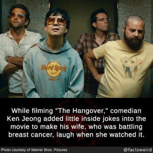 "He cares so much: Herd Ropk  CAFE  BANGKOK  While filming""The Hangover,"" comedian  Ken Jeong added little inside jokes into the  movie to make his wife, who was battling  breast cancer, laugh when she watched it.  @factsweird  Photo courtesy of Warner Bros. Pictures He cares so much"