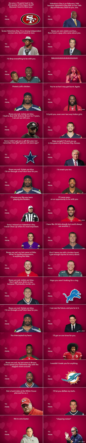 Here's this year's batch of NFL-themed Valentine's Day cards! https://t.co/fma8Im69cP: Here's this year's batch of NFL-themed Valentine's Day cards! https://t.co/fma8Im69cP
