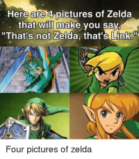 """Zelda: Here are 4 pictures of Zelda  that  will make you say  """"That's not Zelda, that's Link.  Four pictures of zelda"""