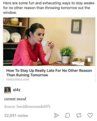 Windows, Humans of Tumblr, and Current Mood: Here are some fun and exhausting ways to stay awake  for no other reason than throwing tomorrow out the  window.  How To Stay Up Really Late For No Other Reason  Than Ruining Tomorrow  reductress.com  al4Z  current mood  Source: haroldlovesmaude1971  32,891 notes