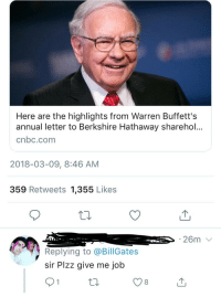 here are the highlights from warren buffetts annual letter to berkshire hathaway shareho cnbccom 2018 03 09 846 am 359 retweets 1355 likes replying to sir