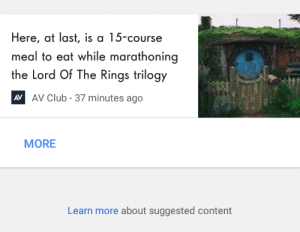 Club, The Lord of the Rings, and Tumblr: Here, at last, is a 15-course  meal to eat while marathoning  the Lord Of The Rings trilogy  AV Club - 37 minutes ago  AV  MORE  Learn more about suggested content skyerana: arofili: ……..go on  Here's the suggested list