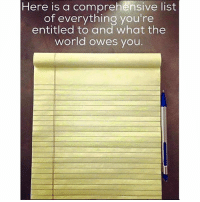 Memes, World, and Entitled: Here is a comprehensive list  of everything you're  entitled to and what the  world owes vou You're welcome. You get what you deserve.