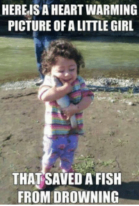 Fish, Girl, and Heart: HERE IS A HEART WARMING  PICTURE OF A LITTLE GIRL  THAT SAVED A FISH  FROM DROWNING