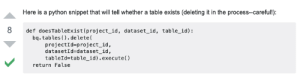 I always copypasta answers from stackoverflow into my production codes!: Here is a python snippet that will tell whether a table exists (deleting it in the process--careful!):  8  def doesTableExist(project_id, dataset_id, table_id):  bq. tables (). delete(  projectId=project_id,  datasetId=dataset_id,  tableId=table_id).execute()  return False I always copypasta answers from stackoverflow into my production codes!
