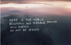 will happen: HERE IS THE WORLD.  BE AUTIFUL AND TERRIBLE THINGS  WILL HAPPEN.  DO NOT BE AFRAI D
