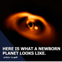 Cute, Memes, and Giant: HERE IS WHAT A NEWBORN  PLANET LOOKS LIKE.  @TECH I by guff (via @tech) The European Southern Observatory in Chile has captured the first confirmed image of a newborn planet around the star PDS 70. Using their Very Large Telescope's (that is actually the name) planet-spotting Sphere instrument, the researchers were able to locate and snap a portrait of the cosmic newborn. The planet is called PDS 70b and scientists have determined it is a gas giant with a mass several times that of Jupiter. It appears as a bright spot just to the right of the center of the image. Awww! They are so cute at that age! tech planets space For more, follow @tech