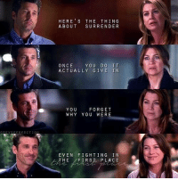 Memes, 🤖, and The Thing: HERE S THE THING  ABOUT SURRENDER  ONCE YOU DO IT  ACTUALLY GIVE IN  YOU FORGET  WHY YOU WERE  GREYSPFREECT10  EVEN FIGHTING IN  HE FIRST PLACE  td #GreysAnatomy https://t.co/zsTISR051t