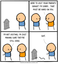 Dank, Parents, and Shit: HERE TO VISIT YOUR PARENTS'  GRAVE? I'M SORRY... THAT  MUST BE HARD ON YoU  I'M NOT VISITING, I'M JUST  MAKING SURE THEY'RE  STILL DEAD  SHIT  Cyanide and Happiness © Explosm.net This comic's great and all, but it's not our newest one! You can find our most recent comic here: http://explosm.net/