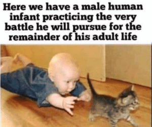 True!: Here we have a male human  infant practicing the very  battle he will pursue for the  remainder of his adult life True!