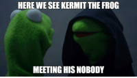 Must have turned into a heartless when he broke up with Miss Piggy.   PS: I know you thought of this too when you first saw this meme.   ~Xigbar: HERE WE SEE KERMIT THE FROG  MEETING HISNOBODY Must have turned into a heartless when he broke up with Miss Piggy.   PS: I know you thought of this too when you first saw this meme.   ~Xigbar