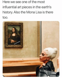 Mona Lisa, Game, and Grindr: Here we see one of the most  influential art pieces in the earth's  history. Also the Mona Lisa is there  too  ay Step up your game da Vinci (@versacgay)
