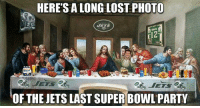 Lmao, Memes, and Nfl: HERE'S A LONG LOST PHOTO  ETS  OF THE JETS LAST SUPER BOWL PARTY Lmao  Like NFL Memes  Credit - Dom C