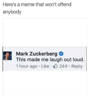 https://t.co/WQTd1gclcm: Here's a meme that won't offend  anybody  Mark Zuckerberg C  This made me laugh out loud.  1 hour ago Like 244 Reply https://t.co/WQTd1gclcm
