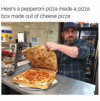 pepperoni pizza: Here's a pepperoni pizza inside a pizza  box made out of cheese pizza  cookie  hey