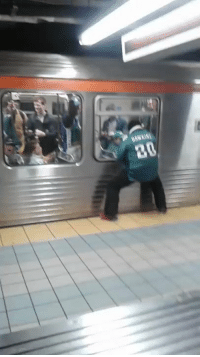 Ass, Philadelphia Eagles, and Football: Here's another angle of the Eagles fan who busted his ass running into a Subway pole https://t.co/WQj3Xif8lt