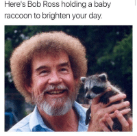 """<p>Brightened my day! via /r/wholesomememes <a href=""""http://ift.tt/2xT8n90"""">http://ift.tt/2xT8n90</a></p>: Here's Bob Ross holding a baby  raccoon to brighten your day <p>Brightened my day! via /r/wholesomememes <a href=""""http://ift.tt/2xT8n90"""">http://ift.tt/2xT8n90</a></p>"""
