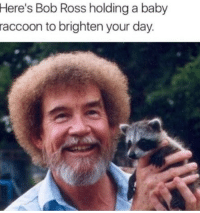 <p>Bob Ross with a Baby Racoon could right all the wrongs in today&rsquo;s world</p>: Here's Bob Ross holding a baby  raccoon  to brighten your day <p>Bob Ross with a Baby Racoon could right all the wrongs in today&rsquo;s world</p>