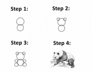 Here's how to draw a panda: Here's how to draw a panda
