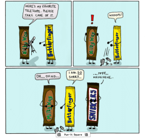 omg-images:Candy Bars [OC]: HERES My FAVORITE  TELE SCoPE. PLEASE  TAKE CARE OF IT  WHOOPS!  IAM SO  SORRY..  HEHE HEHE..  田Pun-lt Square田 omg-images:Candy Bars [OC]