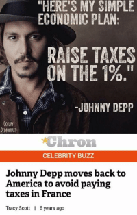 "America, Johnny Depp, and Memes: ""HERE'S MY SIMPLE  ECONOMIC PLAN:  RAISE TAXES  Of II  ON THE 1%.""  JOHNNY DEPP  OCCUPY  DEMOCRATS  chron  CELEBRITY BUZZ  Johnny Depp moves back to  America to avoid paying  taxes in France  Tracy Scott  6years ago (GC)"