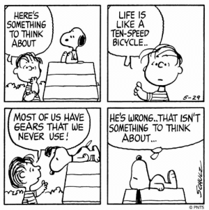 This Peanuts strip was first published on May 29, 1981. #WednesdayWisdom: HERES  SOMETHING  TO THINK  ABOUT  LIFE 15  LIKE A  TEN-SPEED  BICYCLE  くつ.)  5-29  MOST OF US HAVEHE'S WRONG. THAT ISN'T  GEARS THAT  NEVER USE!  WE50METHING TO THINK  ABOUT  60.  © PNTS This Peanuts strip was first published on May 29, 1981. #WednesdayWisdom