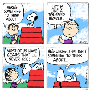 Life is like a... 🚲 #WednesdayWisdom: HERE'S  SOMETHING  TO THINK  ABOUT  LIFE I5  LIKE A  TEN-5PEED  BICYCLE  FIL  5-29  MOST OF US HAVEHE'S WRONG THAT ISN'T  GEARS THAT WE SOMETHING TO THINK  NEVER USE!  ABOUT.  (i  PNTS Life is like a... 🚲 #WednesdayWisdom