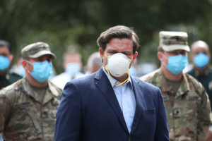 Here's the leader of all FloridaMan, Governor Ron DeSantis, wearing a face mask: Here's the leader of all FloridaMan, Governor Ron DeSantis, wearing a face mask