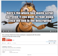 here's the whole bee movie Script  narrated.If you want to read  along,  Click the link in the description  II 0:36 14:45:48  the nutshack theme but every nutshack is replaced with the entire  reading of the bee movie script  Bacon lovar  Subscribe  9,242  275,945 views  11,428  I 347  Share  More  Add to  Published on 7 Sep 2016  Reader: https://www.youtube.com/user/Brendani...  Script: http://www.script-o-rama.com/movie sc  Gaming  Category  Standard YouTube Licence  Licence  SHOW LESS me irl