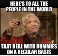 Funny, Memes, and World: HERE'S TO ALL THE  PEOPLE IN THE WORLD  THAT DEAL WITH DUMMIÉS  ON A REGULAR BASIS 15 Funny Adult Humor Memes To Get You Through Tough Times #sayingimages #funnymemes #adulthumormemes