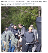 Love, Memes, and Vision: Here's #Vision. Dressed... like me actually. This  is my style  Paul Bettany (Vision) was seen on the set of INFINITY WAR in Atlanta.  http://bit.ly/2liTbKe  (Nerds Love Art)