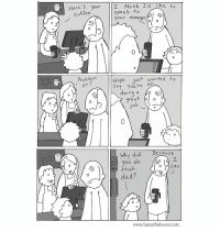 New comic! Comment! www.lunarbaboon.com: Here's Your I think I'd like to  speak +o  Vour manager  Coffee  Problem  Nope.. just wanted to  ay You're all  oing a  rea  0  へ。  Why did  Be cause  ou do  that  dad?  o o Can  www.lunarbaboon.com New comic! Comment! www.lunarbaboon.com