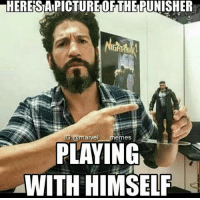 ~Deadpool: HERESIAPICTURETOFTHERUNISHER  IG @marvel  memes.  PLAYING  WITH HIMSELF ~Deadpool